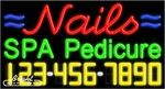 Nails Spa Pedicure Neon w/Phone #