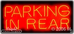 Parking In Rear Neon Sign