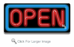 Small Rectangle Blue & Red Neon Open Sign