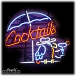 Cocktails Neon Sign with Parrot