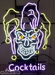 Jester Skull Cocktails Neon Sign