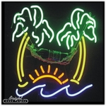 Palm Trees with Hammock Neon Sign