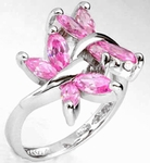 New Pink CZ Two Butterfly 925 Silver Engagement Ring