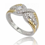 Round Diamond Simulated Gold Vermeil Wedding Band