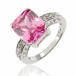 12.3Ctw Pink Cubic Zirconia Silver Solitaire Ring