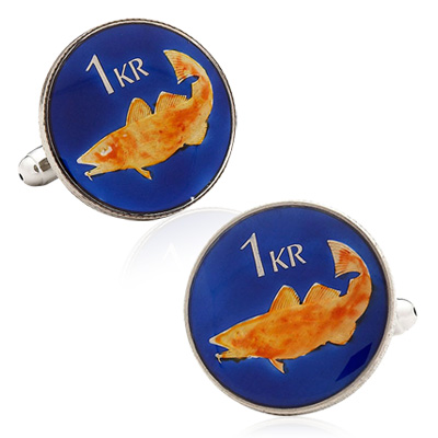 Hand Painted Iceland Coin Cufflinks