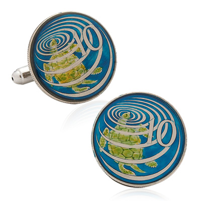 Hand Painted Cayman Island Ten Cent Coin Cufflinks