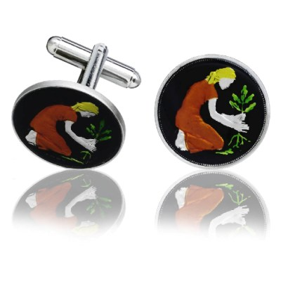 German Farming Coin Cuff Links