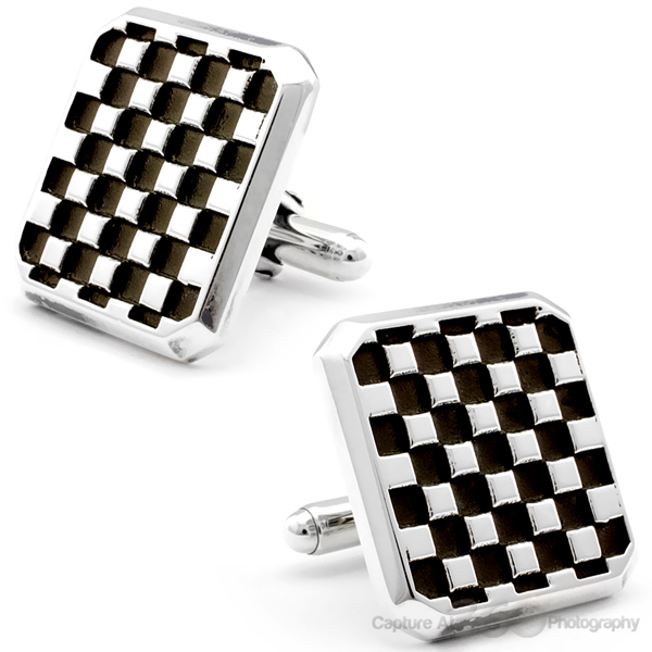 Sterling Silver Checker Board Cufflinks