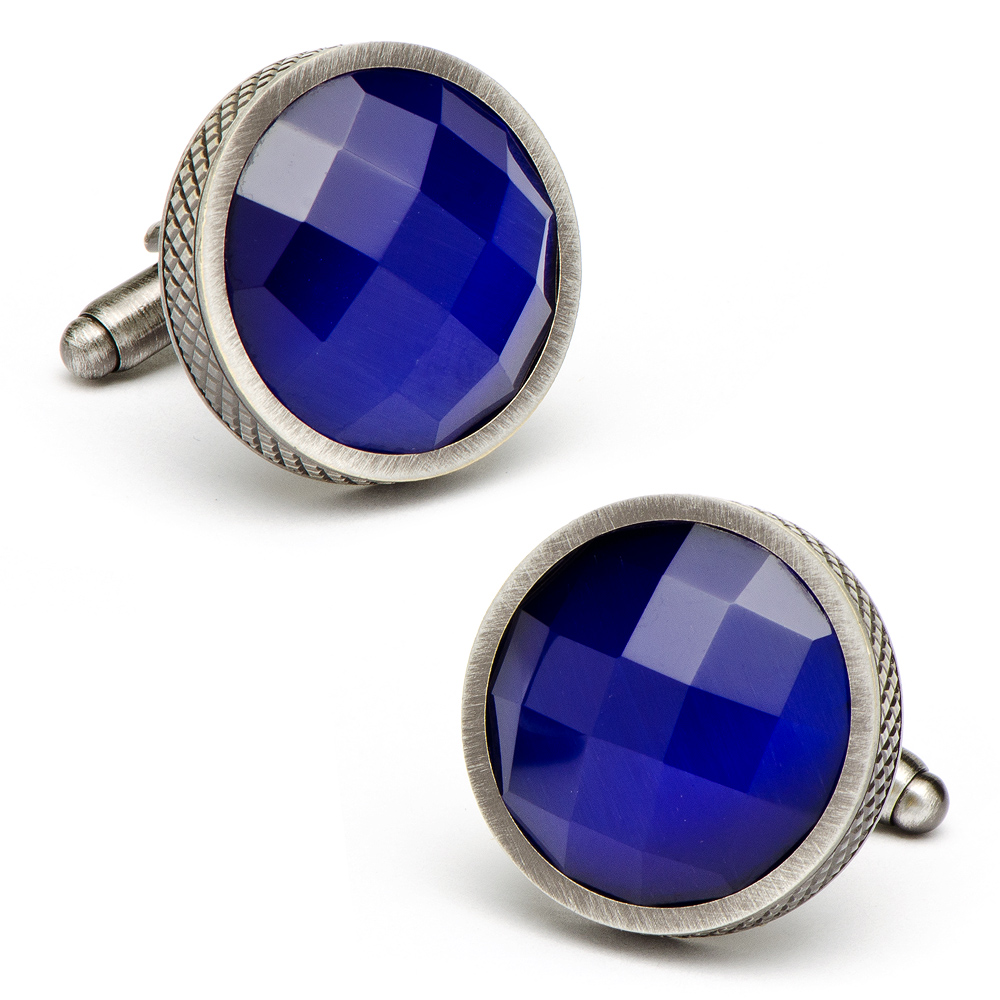 Blue Faceted Cats Eye Cufflinks