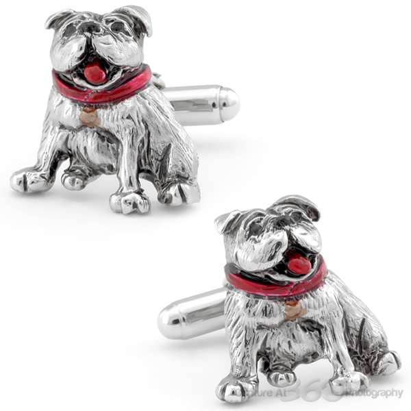 Hand Painted Smiling Bulldog Cufflinks