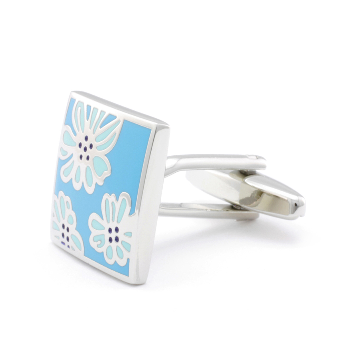 Blue Flower Square Cufflinks
