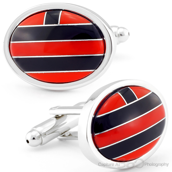 Oval Jasper Red And Onyx Stone Cufflinks