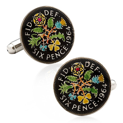Hand Painted British Six Pence Coin Cufflinks