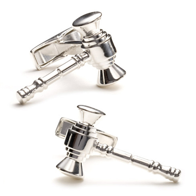 Sterling Legal Gavel Cufflinks