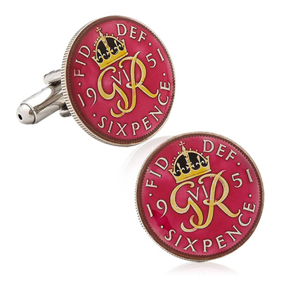 Hand Painted British Six Pence George Vi Coin Cufflinks