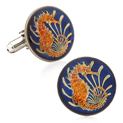Hand Painted Singapore Ten Cent Coin Cufflinks