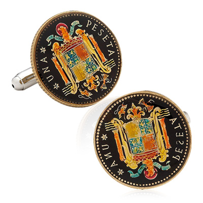Hand Painted Spanish Una Peseta Cufflinks