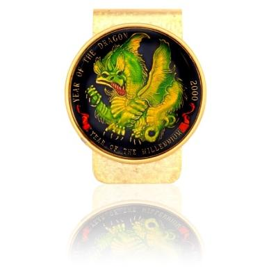 Year Of Dragon Medallion W/ Green Dragon Coin Money Clip