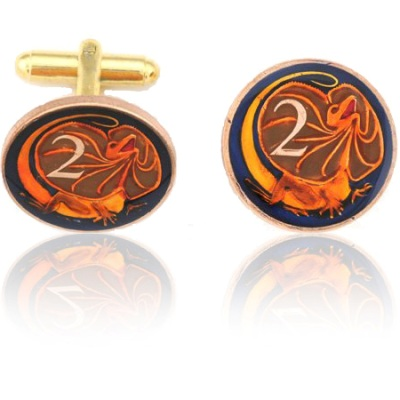 Australian Lizard 813 Coin Cuff Links