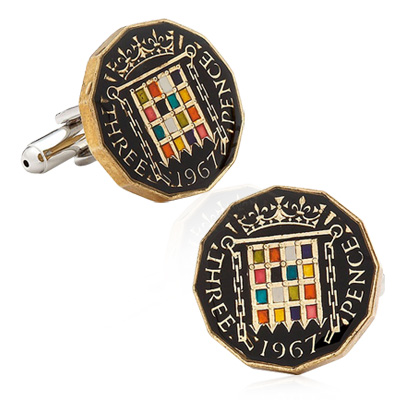 Hand Painted Three Pence Coin Cufflinks