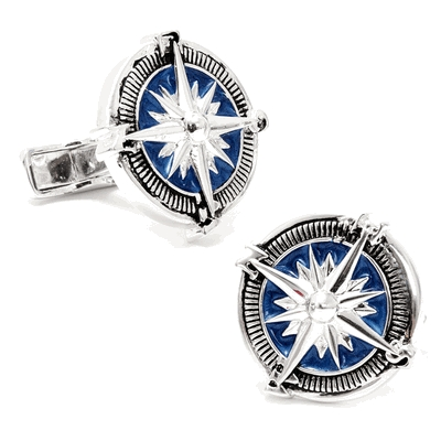 Sterling Blue Nautical Compass Cufflinks