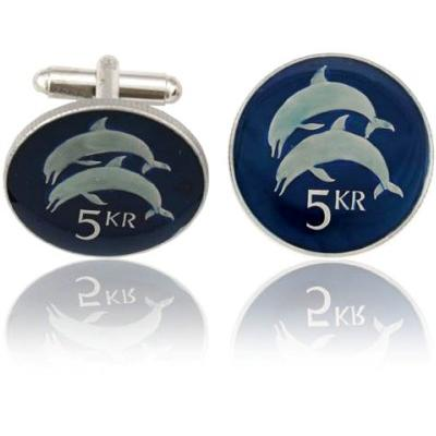 Iceland 2 Dolphins Coin Cuff Links