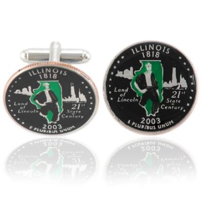 Illinoisan Quarter Coin Cuff Links
