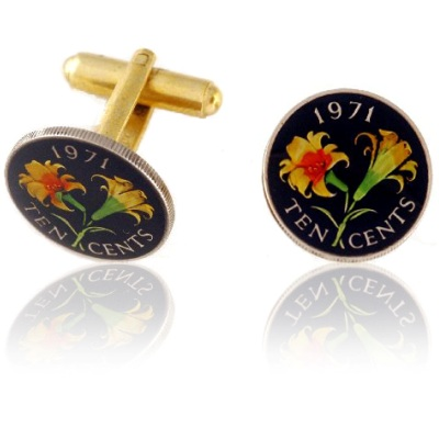 Bermudian Lily Ten Cents Coin Cuff Links