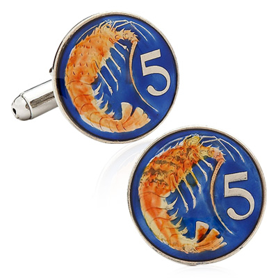 Hand Painted Cayman Five Cent Coin Cufflinks