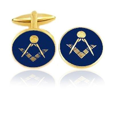 Blue Round Masonic Coin Cuff Links