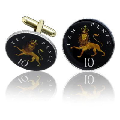 English 10 Pence Coin Cuff Links