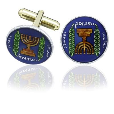 Israel Small Menorah Coin Cuff Links (Size Of Us Dime)