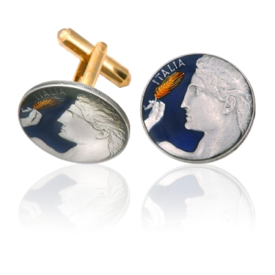 Italy Michelangelo'S David Coin Cuff Links