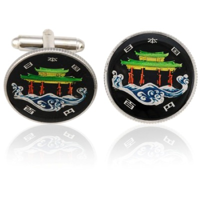 Japan Temple Coin Cuff Links