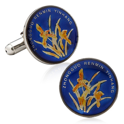 Hand Painted Chinese One Jiao Coin Cufflinks