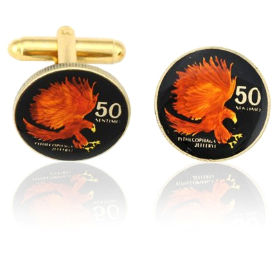 Phillipines Small Eagle Coin Cuff Links