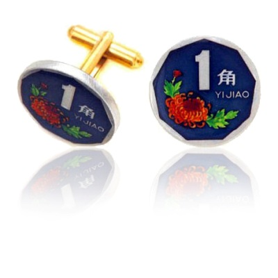 Chinese Octagon Coin Cuff Links