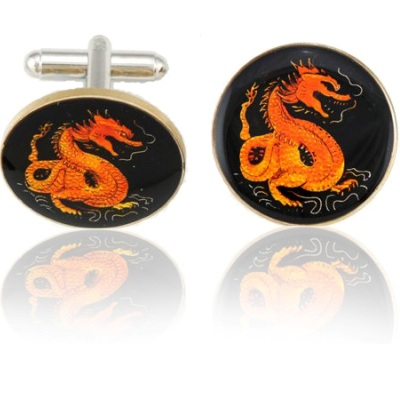 Chinese Red Dragon Coin Cuff Links