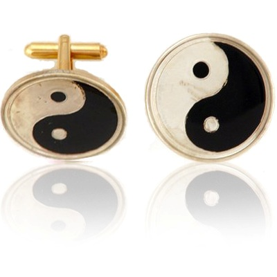 Chinese Ying Yang Coin Cuff Links