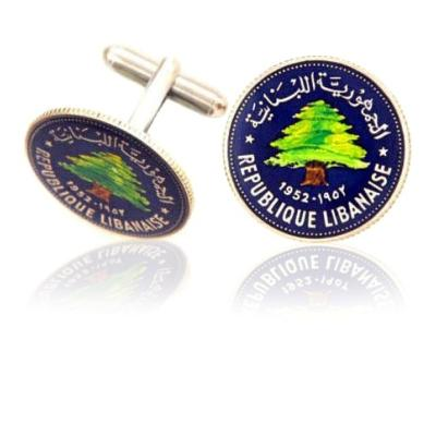 Lebanon Cedar Tree Coin Cuff Links