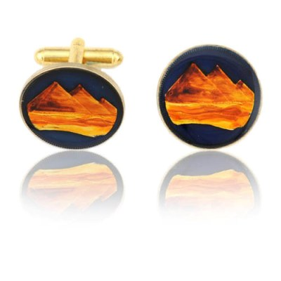 Egyptian Pyramids Coin Cuff Links
