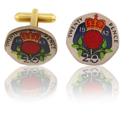 English 20 Pence Coin Cuff Links