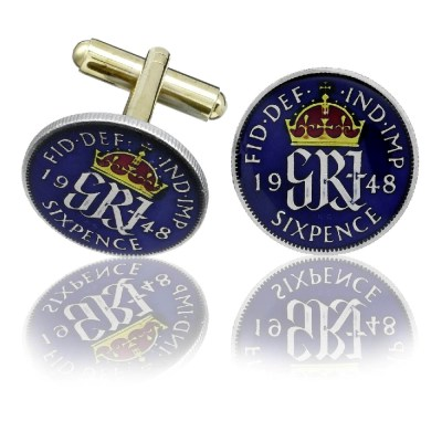 English Old Sixpence Coin Cuff Links