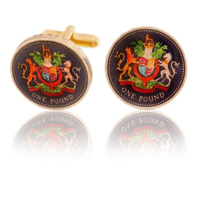 English Pound Unicorn Coin Cuff Links