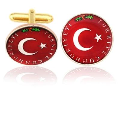 Turkey Moon And Star Coin Cuff Links