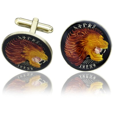 Ethiopian Lion Black Coin Cuff Links