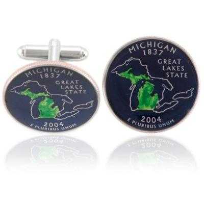 Michiganian Quarter Coin Cuff Links