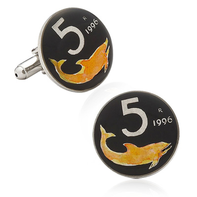 Hand Painted Italian Five Lire Coin Cufflinks