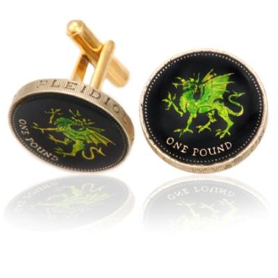 Wales Green Dragon Coin Cuff Links